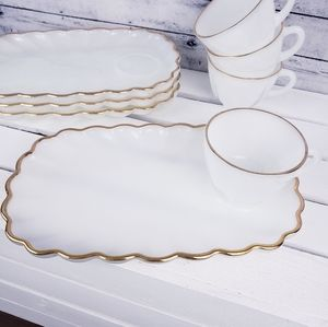 Vtg Anchor Hocking Gold Trim Milk Glass Snack Set